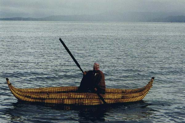 Reed boat on Lake Titicaca, Bolivia